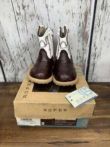 Roper newborn  BOYS SZ 2 Boots/Brown/WHITE  Faux Leather Cowboy  NWT