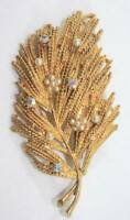 Vintage Gold Tone Leaf Pin Brooch with Rhinestones and Simulated Pearls