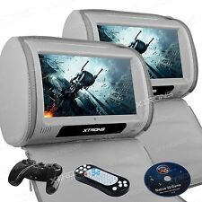 "2X Car Grey Headrest DVD Player 9"" HD Digital Touch Screen Game Disc IR USB SD"