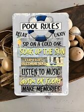 Pool Rules Metal Sign - Beach Decor - Outdoor Sign - Blue 8 x 12 Pool Sign