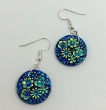 Large Floral Flower Disc Earrings Blue Green G133 4.2 Cm Long Acrylic