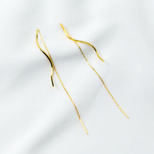 925 Silver Yellow Gold GP Long Curved Bar Drop Thread Threader Earrings Piercing