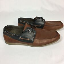 Steve Madden Mens M-Brody Brown Faux Leather Loafer Boat Shoes Size 10