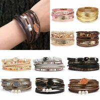 Women Handmade Leaf Crystal Multilayer Leather Bangle Magnetic Clasp Bracelet