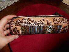 Peruvian - Arequipa Leather and Manta tubular Make-Up Purse
