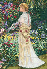 Cross Stitch Kit Gold Collection In Her Garden Victorian Lady Floral #35119