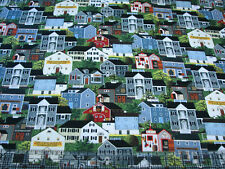 1 Yard Cotton Fabric - Northcott Charles Wysocki Town & Country Buildings Packed
