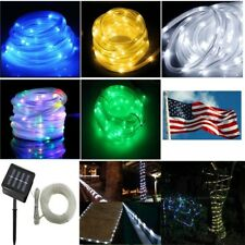Solar powered rope Led string fairy Lights Strips waterproof outdoor garden Xmas