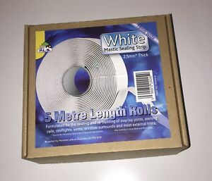CARAVAN / MOTORHOME - Mastic Sealing Strip- White- 2.5mm Thick 19mm Wide X 5 Mtr