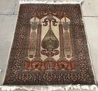"""AN AWESOME 100% Silk INDIA RUG 4'2"""" X 6'1"""""""