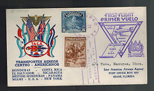 1943 El Salvador TACA Airlines First Flight Cover FFC to Miami USA