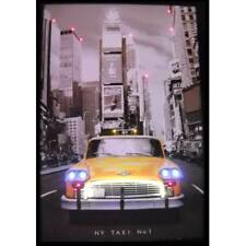 New York City Nyc Taxi Neon Led poster sign Retro Times square lamp Yellow cab