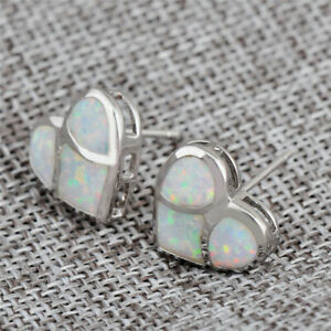 Exquisite Heart Silver Filled White Simulated Opal Ear Stud Earring Wedding