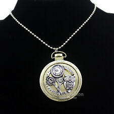 Owl Watch Clock Hand Gear Skeleton Key Alice In Wonderland Steampunk Necklace W2