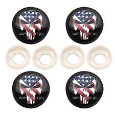 4 Black License Plate Frame Tag Screw Snap Cap Covers - PUNISHER SKULL BC087