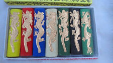 Asia old 7 colours Carved dragon chinese solid calligraphy Painting ink stick