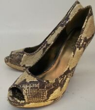 Aldo Womens Shoes Heels EU 40 US 10 Brown Beige Snake Leather Slip-on Peep Toe