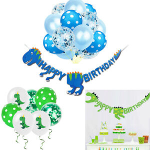 Dinosaur Happy Birthday Paper Banner Balloons Hanging Bunting Party Decoration