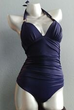 NWT Victorias Secret The Forever One Piece Shaping Halter Swim Suit Navy Blue XL