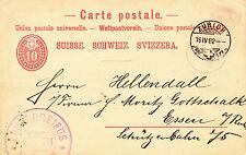 Zürich, nach Essen, siehe Beschreibung, Schweiz 1882, Ganzsache P13?,