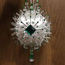 Kit GREEN ACCENT Christmas Holiday Ornament Satin Silk Ball Gems Beads
