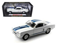 1966 Ford Mustang Shelby GT350 White with Blue Stripes 1/18 Diecast Model Car by