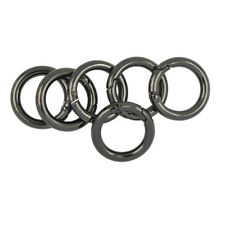 6pcs Circle Round Carabiner Spring Snap Hook Keychain Ring Alloy 25mm Black