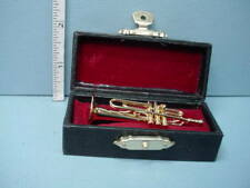 Miniature Brass Color Trumpet wi Case Vemars #MM302S- 1/12th Non-Working