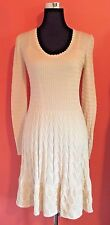 NWT M Missoni Long-Sleeve Knit Fit-and-Flare Dress Size 44/US 8 Ivory/Creme