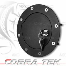 Cobra Tek For Cadillac Chevy GMC Key Lock Black Powder Aluminum Fuel Gas Door