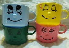 Kids Vintage Plastic Snack Cups w Handles & Faces Pink Yellow Blue Green Taiwan