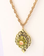 Gold Tone Necklace Pendant with Green Crystals and Peach Flower, Vintage 1960s
