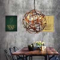 4-Light Brass Globe Cage Pendant Lighting Fixture Farmhouse Retro Orb Chandelier