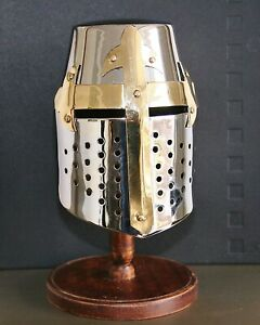 Mini Knights Crusader Helmet On Wooden Stand Perfect Gift