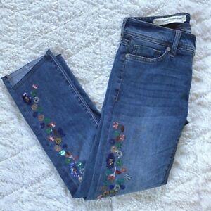 pilcro and the letterpress Jeans 26 Anthropologie Embellished Frayed Hem Slim