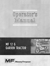 Massey Ferguson MF12G Garden Tractor Operator Manual