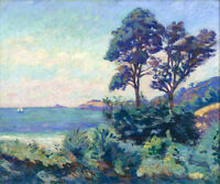 Art Oil painting stunning impressionism landscape with trees by the ocean canvas