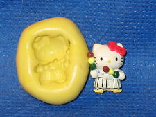 Hello Kitty Samurai Push Mold Flexible Resin Clay Candy Food Safe Silicone  #621