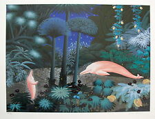"""JOSE CARLOS RAMOS """" PINK DOLPHINS"""" Hand Signed Limited Edition Serigraph"""