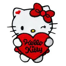 Hello Kitty-Coeur rouge-écusson Aufbügler Application Patch-Neuf #9418