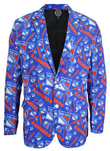 Forever Collectibles NHL Men's New York Rangers Ugly Business Jacket, Blue
