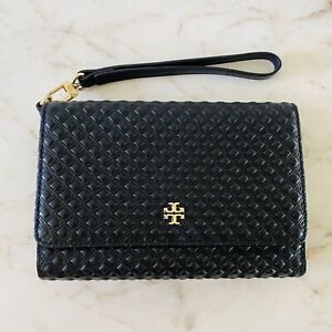 TORY BURCH Solid Black Quilted Soft Leather Trifold Wallet Wristlet