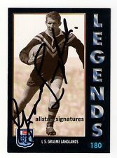 SIGNED GRAEME LANGLANDS DRAGONS IMMORTAL 1994 SERIES 1 LEGENDS NRL CARD RARE 180