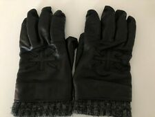 Men's Hackett Black Leather Gloves Union Jack Flag Wool Lining Large XL RRP £125