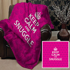 PINK KEEP CALM AND SNUGGLE DESIGN SOFT FLEECE BLANKET COVER THROW BED HOME SOFA