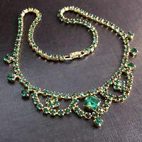 Vintage Gold Tone Prong Set Emerald Green Rhinestone Necklace Princess Choker