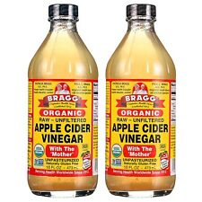 (2 Pack) Bragg Organic Apple Cider Vinegar with The Mother,Raw Unfiltered,16 oz