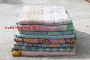 Indian Old Vintage Reversible Kantha Quilt Ethnic Wholesale Lot Bedspread Decor