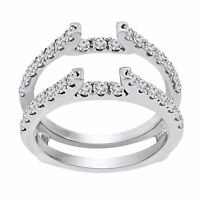 0.35 Ct Round Cut 14k White Gold Over Solitaire Guard Enhancer Engagement Ring