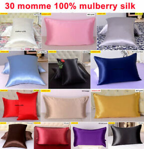 1pc 30 Momme Heavy Weight 100% Silk Pillow Cases Covers Pillowcases Zippered